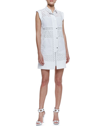 Voile Eyelet Cap-Sleeve Shirtdress