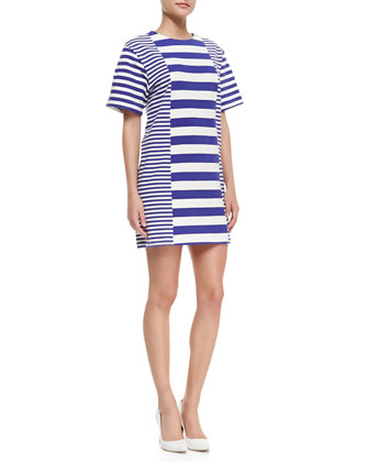 Striped-Jersey Short-Sleeve Dress