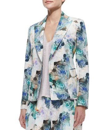 Floral-Print Double-Breasted Jacket