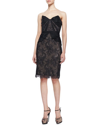 Strapless Lace Cocktail Dress, Black