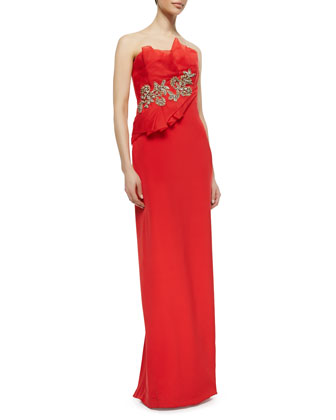 Strapless Fold Gown with Beaded Flowers, Poppy