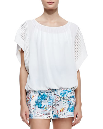 Short-Sleeve Oversized Blouse