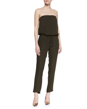 Strapless Blouson-Top Jumpsuit