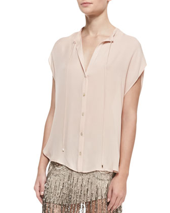 Silk Button-Down Blouse