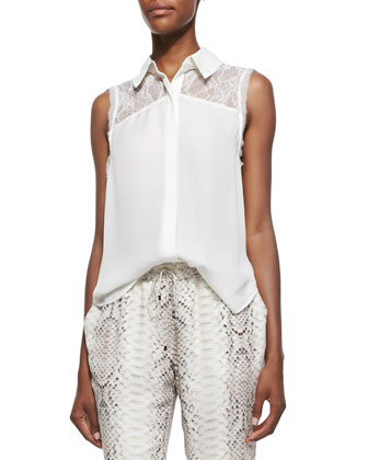 Silk Lace-Yoke Sleeveless Blouse