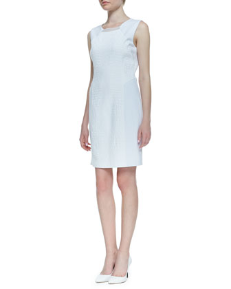 Sleeveless Croc Jacquard Gramercy Dress, White