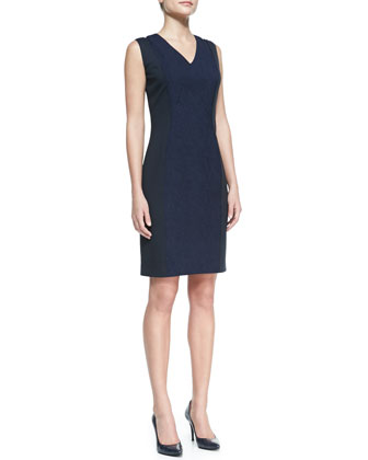 Rudy Textured Snake Jacquard Sheath Dress