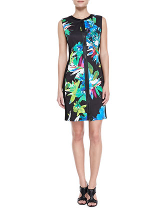 Mila Front-Zip Printed Dress