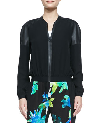 Sandie Silk Bomber Jacket, Black
