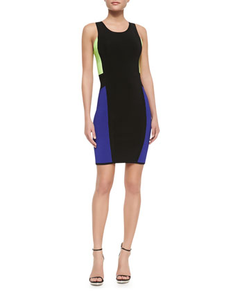 Color-Panel Sleeveless Body-Con Dress