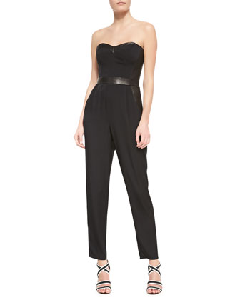 Strapless Bustier Leather-Trim Stretch-Silk Jumpsuit