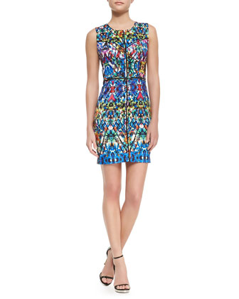 Stained-Glass-Print Slim Dress