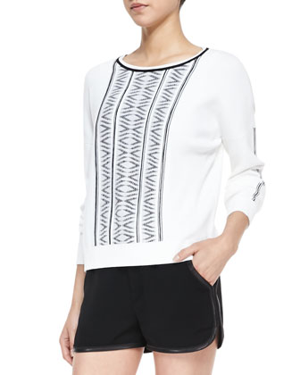 Erin Lambskin-Trim Printed-Knit Sweater