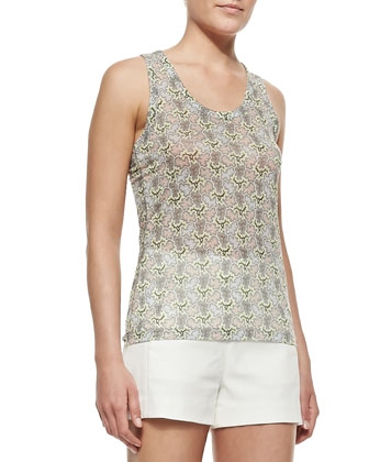 Lightweight Printed Sheer Sleeveless Top