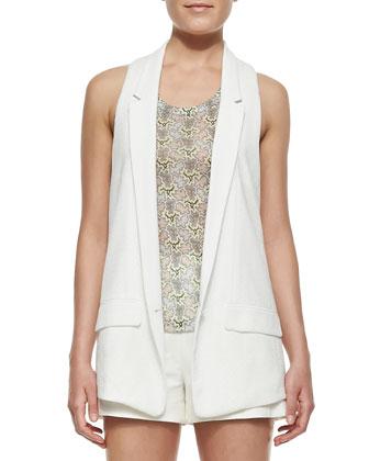 Ines Texture-Trim Crepe Vest