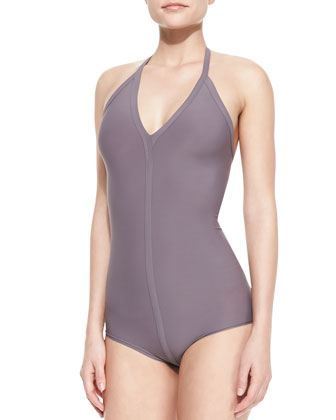 One-Piece Seamed Halter Swimsuit, Mauve