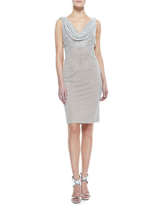 Sleeveless Cowl & Beaded Neck Cocktail Dress, Silver