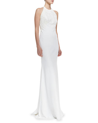 Halter-Neck Beaded-Bodice Gown, Ivory