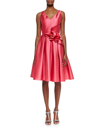 Sleeveless Ruffle Waist Party Dress, Strawberry