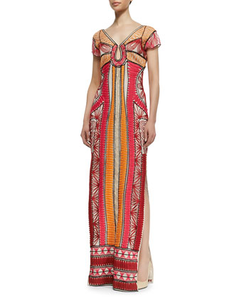 Ellison Passementerie Maxi Dress, Multicolor