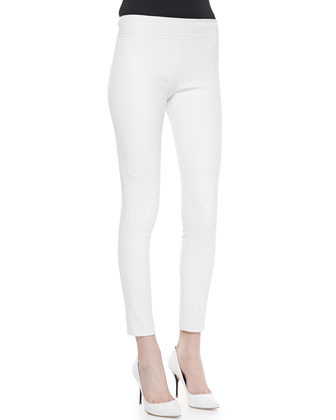 Kristen Skinny Cropped Leather Pants, White