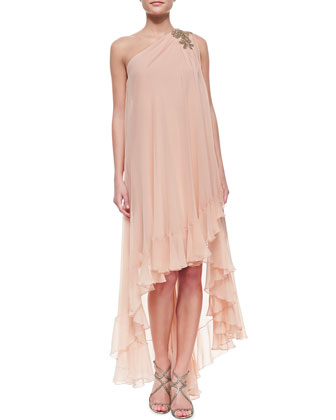 One-Shoulder Cascading-Hem High-Low Cocktail Dress, Blush
