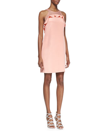 Sleeveless Ruffle-Bodice Shift Dress, Pink