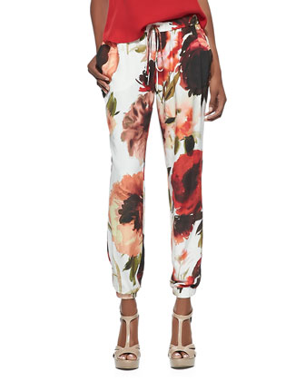 Floral-Print Drawstring Easy Pants