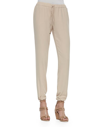 Cuffed Drawstring Easy Pants