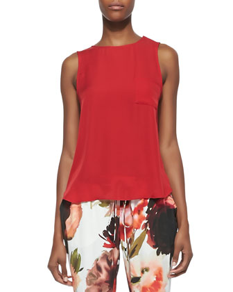 Sleeveless Flyaway-Back Pocket Top