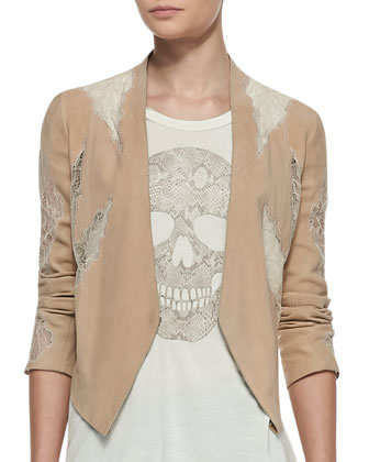 Suede Lace-Panel Drape Jacket