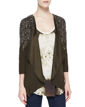 Flame Embellished Drape Jacket