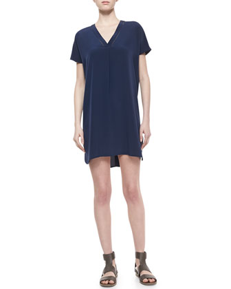 V-Neck Short-Sleeve Silk Dress