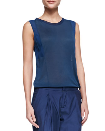 Mixed-Fabric Silk Muscle Tee