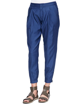 Pleated Zipper-Cuff Harem Pants