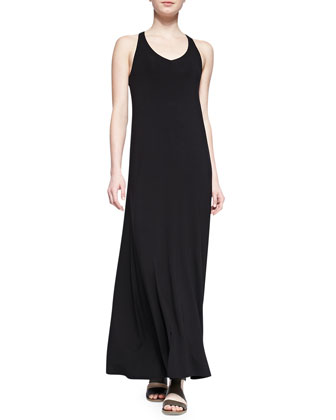 Sleeveless V-Neck Jersey Maxi Dress, Black