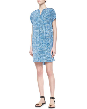 Static-Print Silk Short Dress, Blue