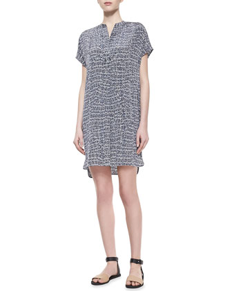 Static-Print Silk Short Dress, Gray