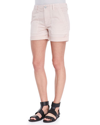 Cuffed Patch-Pocket Twill Shorts, Rosetan