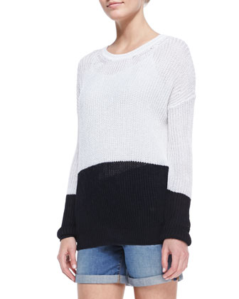 Drop-Shoulder Colorblock Sweater, Optic White/Coastal