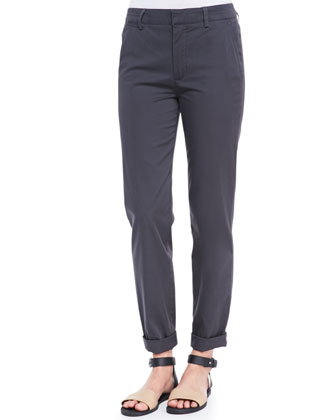 Relaxed Twill Cuffed Boyfriend Trousers, Forge