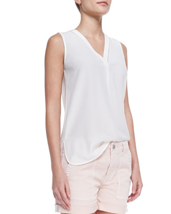 Sleeveless Silk V-Neck Blouse