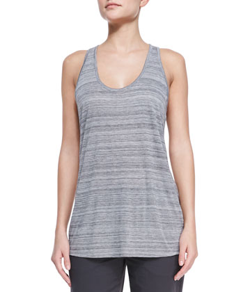 Striped Racerback Slub Tank, Light Gray