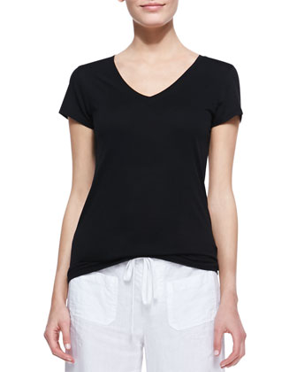 Cotton Short-Sleeve V-Neck Tee, Black