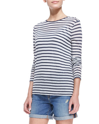 Long-Sleeve Striped Tee, Indigo/White