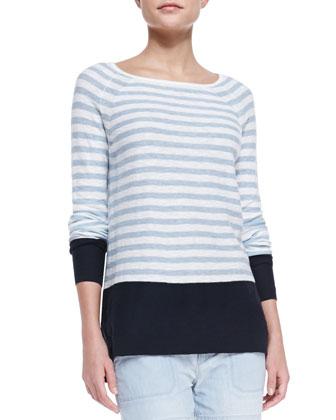 Colorblock Striped Sweater, Coastal