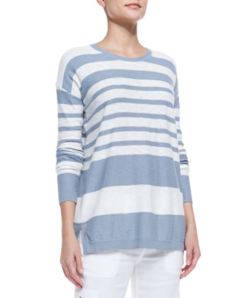 Striped Cotton Knit Sweater, Chambray