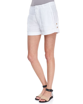 Tab-Side Cuffed Linen Shorts