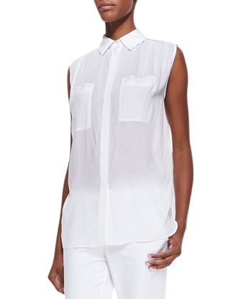 Sleeveless Lightweight Button-Front Blouse