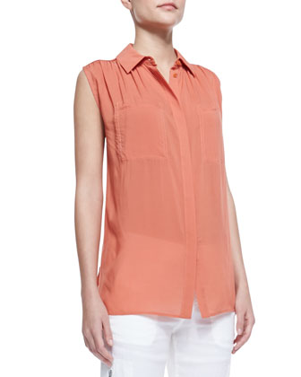 Gathered-Shoulder Sleeveless Blouse